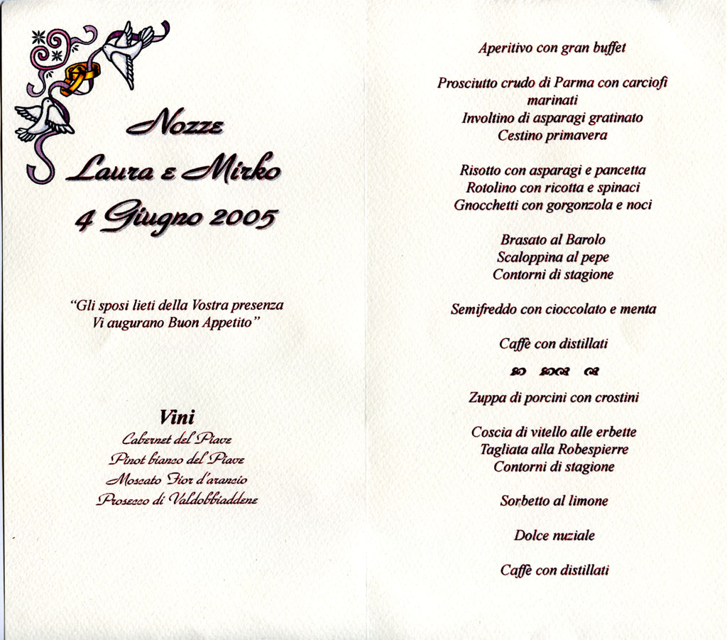 Favorito Il menu del matrimonio del 04/06/2005 . - Voci nel Web IZ03
